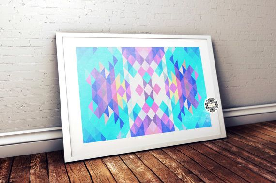 Geometric Print Retro wall art Mid century geometric art multi colored triangles abstract geometric print mid century art home decor