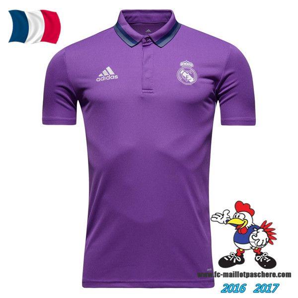 Promo Polo De Foot Real Madrid Pourpre 2016/2017 Pas Cher