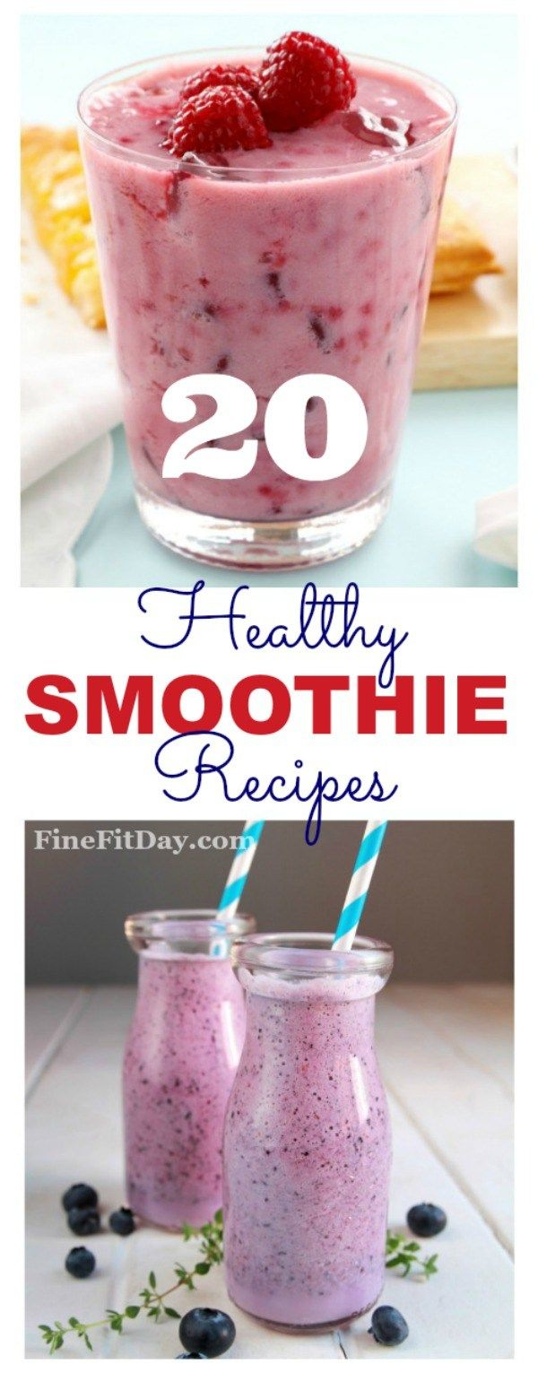 20 Delicious Healthy Smoothie Recipes! Try one of these superfood smoothies, packed with antioxidants, vitamins and protein as a healthy breakfast, or a pre or post-workout snack. Great for a meal or as fuel for your workout!