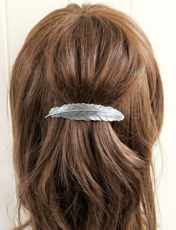 Large Feather Barrette Sterling Silver Finish by BellaMantra