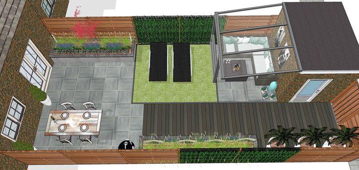 Tuinontwerp Moderne achtertuin