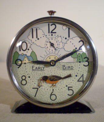 Clock- 1930'S-40's Westclox U.S.A. Animated Early Bird Alarm Clock Bobbing Robin & Worm