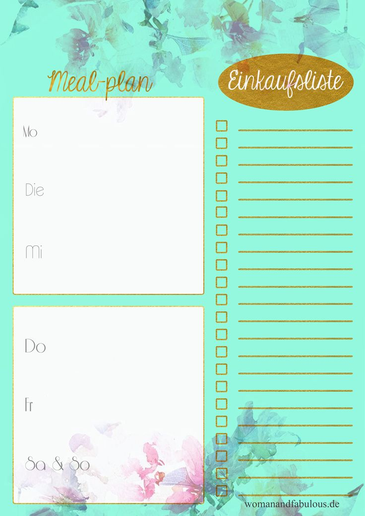 weekly Meal plan printable - german / deutsch Einkaufsliste Essensplan