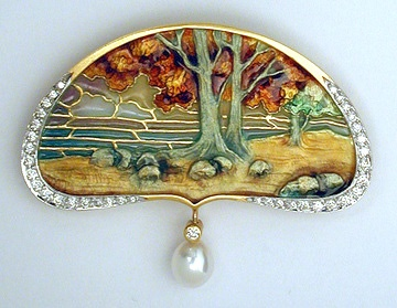 Masriera Enameled Brooch
