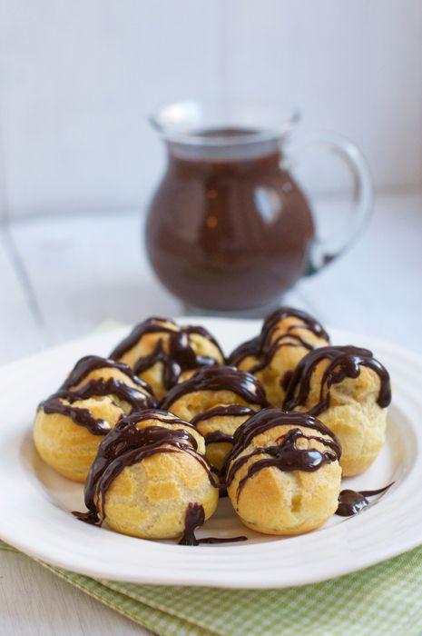 profiteroles with burnt-sugar custard & chocolate sauce