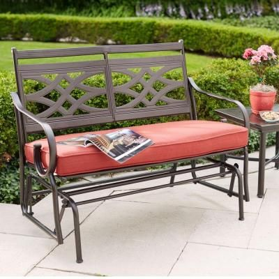 Hampton Bay Middletown Patio Glider with Dragonfruit Cushions-D11200-G - The Home Depot