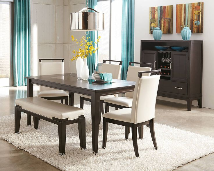 Trishelle dining set in ivory upholstery with bench seat