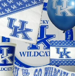 """University of Kentucky Wildcats Party Pack  $29.99  Save when you order this party pack rather than individual items. In each party pack you will get:    16 UK 20oz plastic cups  16 UK 5"""" x 5"""" beverage napkins  25 UK 6.5"""" x 6.5"""" luncheon napkins  16 UK 9"""" paper dinner plates 10 UK 11"""" helium quality biodegradeable balloons  1 UK 42' streamer"""