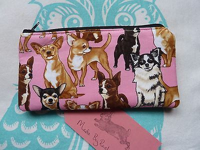 Handmade Makeup Bag Chihuahua Dog Puppy Cosmetic Pencil Case Clutch Pink Purse