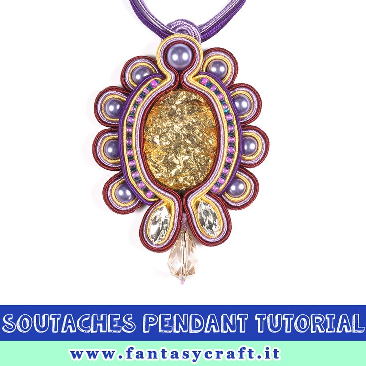 soutaches pendant with swarovski navettes tutorial, step by step picture and beading instruction - Foto e testi passo passo per un pendente in tecnica soutaches #fantasycraft