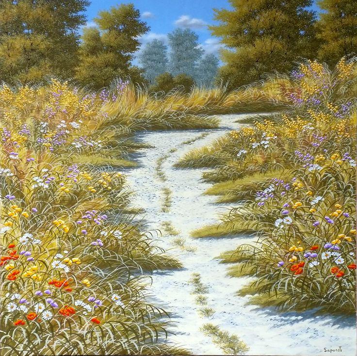 "olio su tela, dipinto, pittore paesaggista Marco Saporiti - ""The sound of silence"""