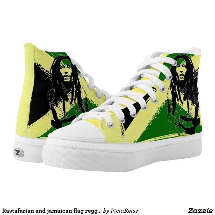 Rastafarian and jamaican flag reggae pattern shoes printed shoes