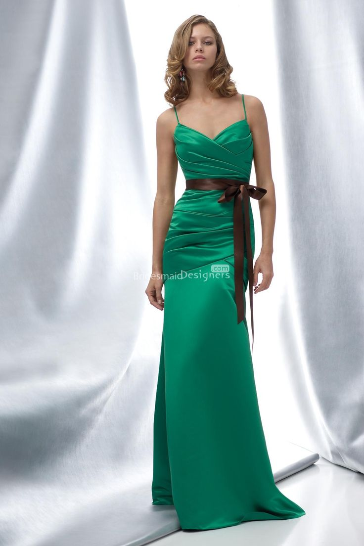 160 best bridesmaid dresses images on pinterest marriage flower pretty emerald spaghetti straps ruched long satin bridesmaid dress with bow sash ombrellifo Image collections