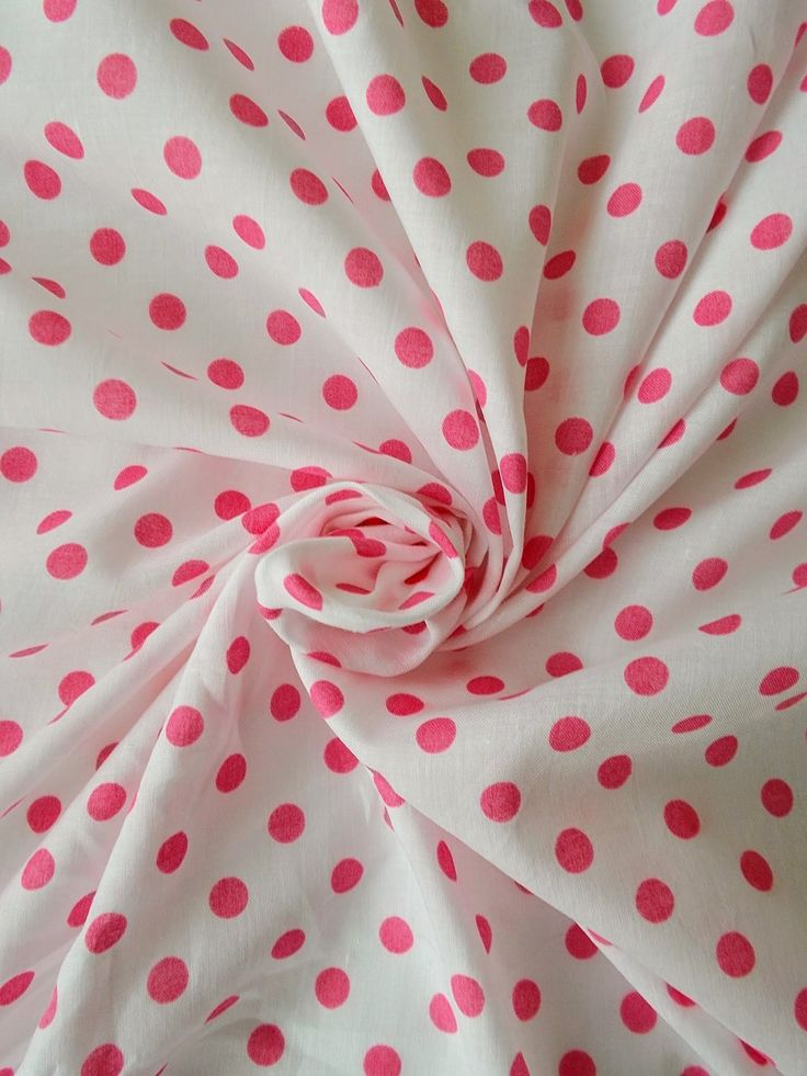 Vintage Soft Cotton Dress Fabric - 1960's/1970's - Pink spots on a white background  - 1 piece - Unused