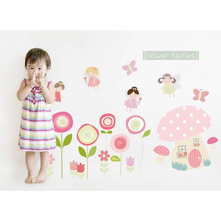 flower fairies fabric wall stickers by littleprints | notonthehighstreet.com