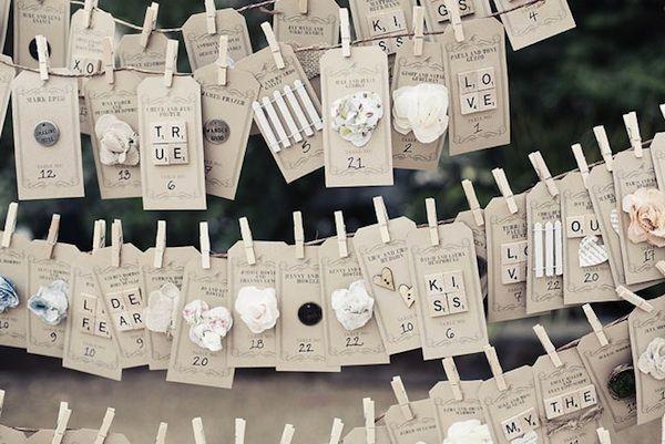 cuerdas colgando con tarjetas con la distribucion de mesas y chapas para los invitados o bien para que dejen mensajes...