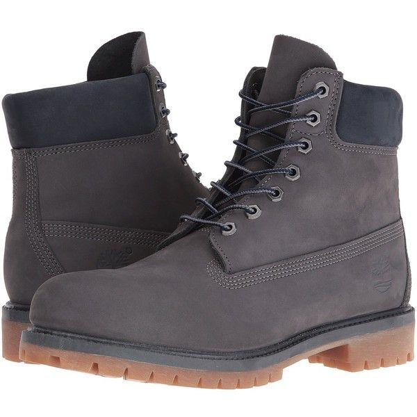 Timberland 6 Premium Boot - Autumn Mashup (Forged Iron Waterbuck NB)... ($190) ❤ liked on Polyvore featuring men's fashion, men's shoes, men's boots, men's work boots, mens waterproof boots, mens long boots, timberland mens boots, mens work boots and timberland mens work boots
