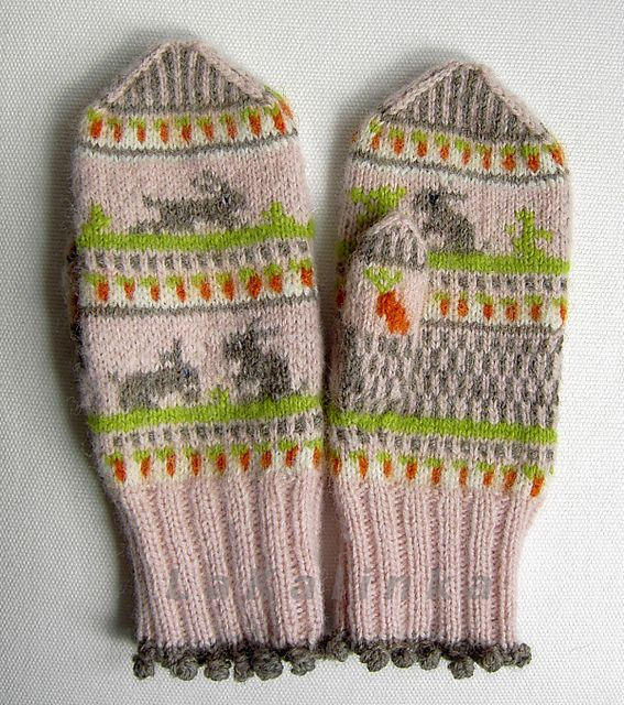 I love these hand knit Peter Rabbit mittens.