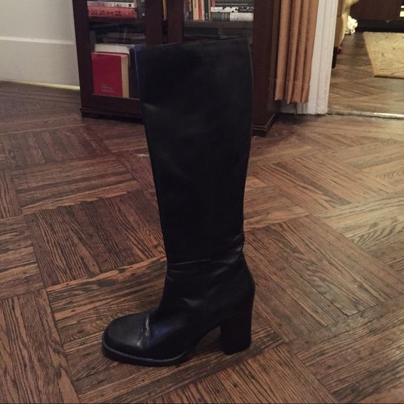 Leather knee high boots with heel No wear. Great classic boot Valerie Stevens Shoes Heeled Boots