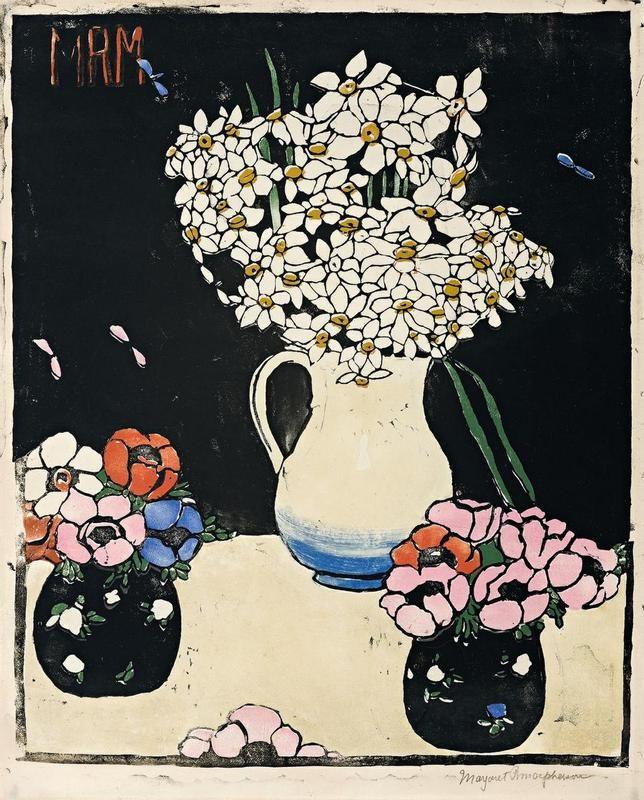 Margaret Preston Woodblock 'Narcissi' 1916? 1919?