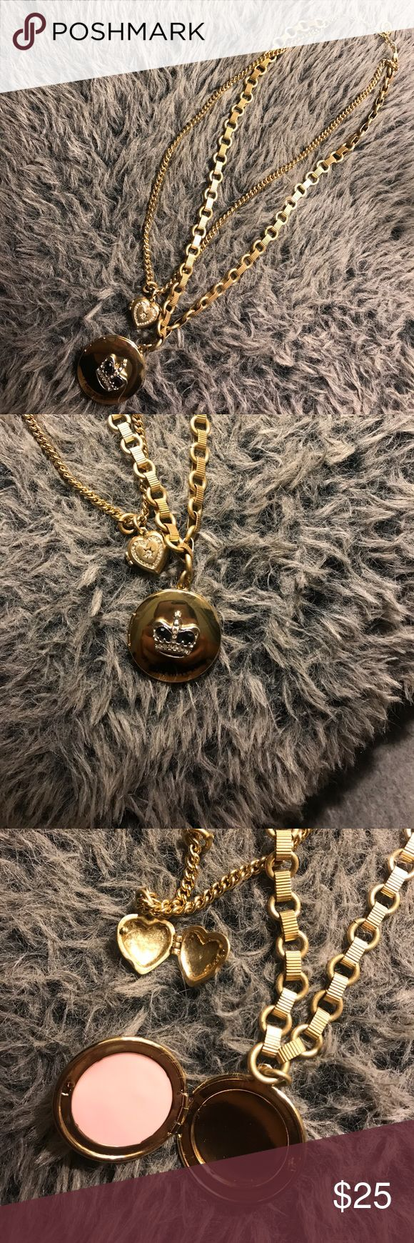 🔥 Juicy Couture double locket necklace Super cute in great condition! Hardly wore it. Some of the lettering is slightly faded (as pictured) both lockers open up. Juicy Couture Jewelry Necklaces