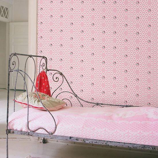 Papier peint Hello Kitty - Flower Power 25€ #papierpeintflower #flower #rose #papierpeint