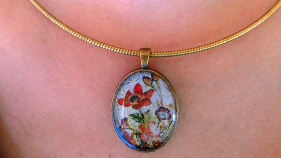 Wild Flower pendant Oval bronze pendant acrylic by ArtisticBreaths