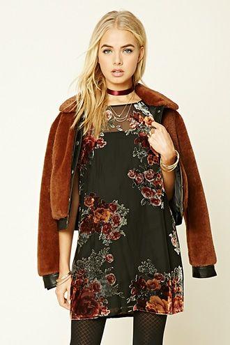 Velvet Appliqued Mini Dress