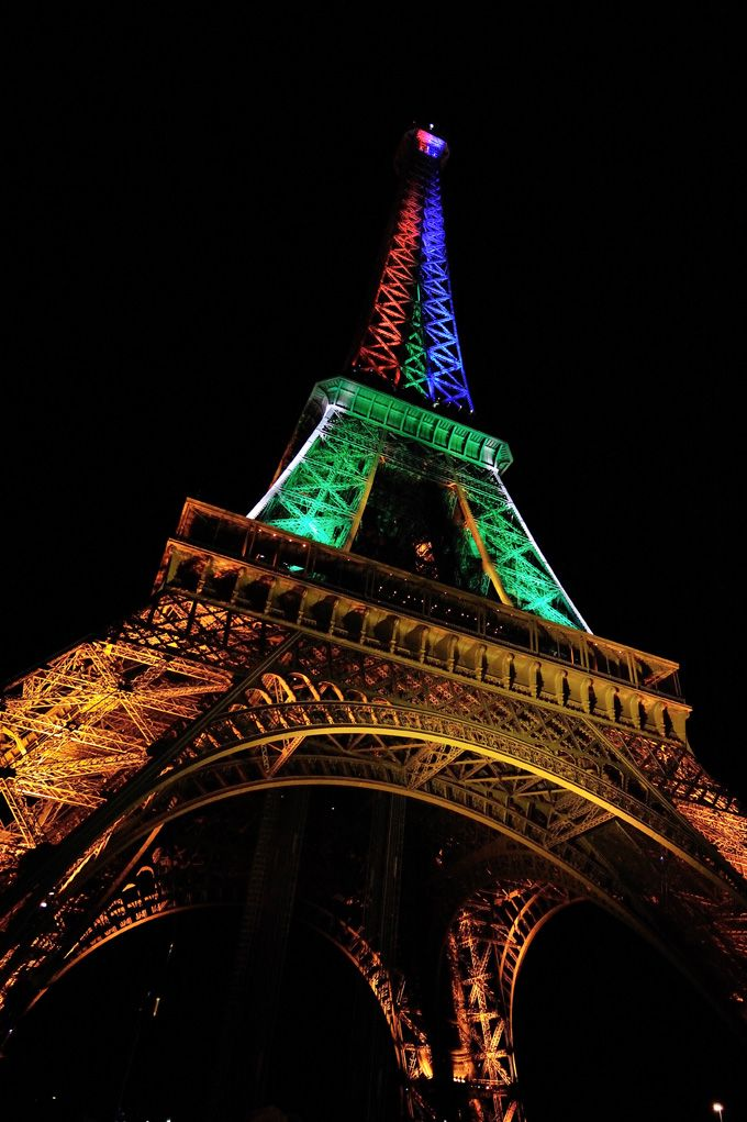 France has lit up the Eiffel Tower in the colours of the South African flag in honour of Mandela month and Mandela's birthday.