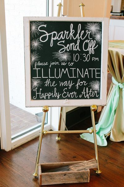 """Join us to illuminate the way for happily ever after!"" This chalkboard sign will amp up your wedding guests' excitement for the sparkler send-off! {@pinriverland}"