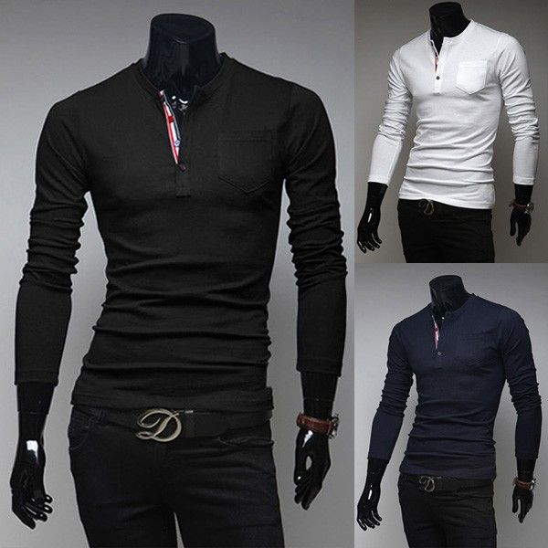 Men's Slim T-shirts Classic Splicing Round Neck Polo Shirts