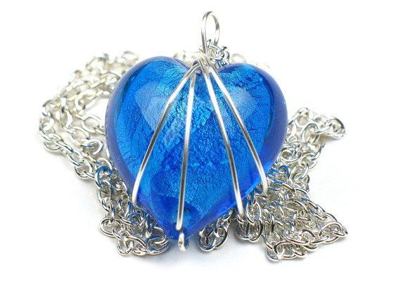 Free shipping US and Canada. Use PIN15 for a 15% discount. Heart Necklace in Aqua Blue with Wire Wrapped Pendant and