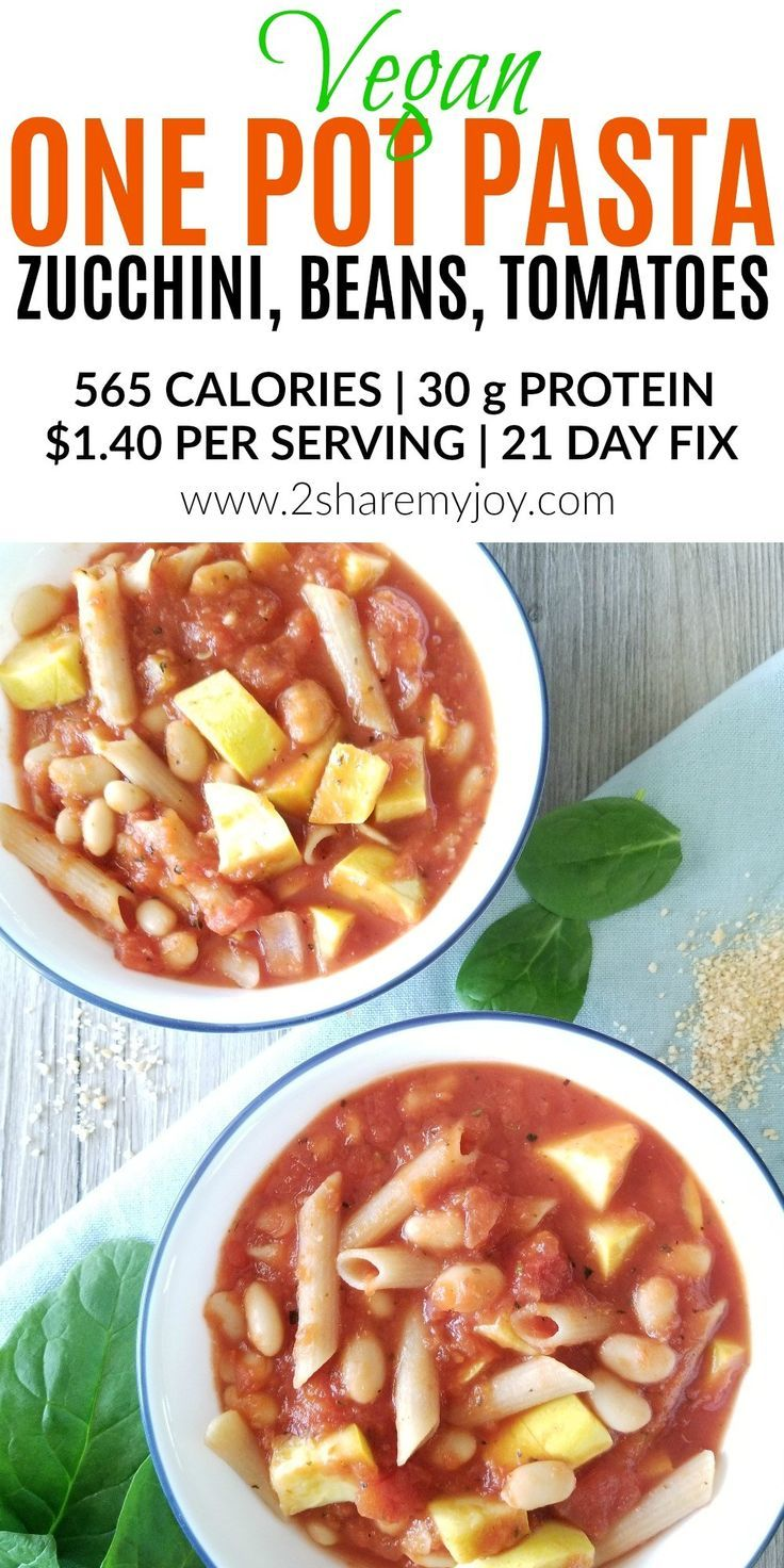 Vegan one pot pasta recipe with tomato, zucchini, and cannellini beans. Great source of fiber and protein. This vegan and vegetarian recipe makes a filling dinner meal and is filled with healthy veggies. The penne is gluten free made with quinoa, but you can use whole wheat too. 21 day fix friendly with container count. #onepotmeal #onepotpasta #plantbaseddiet