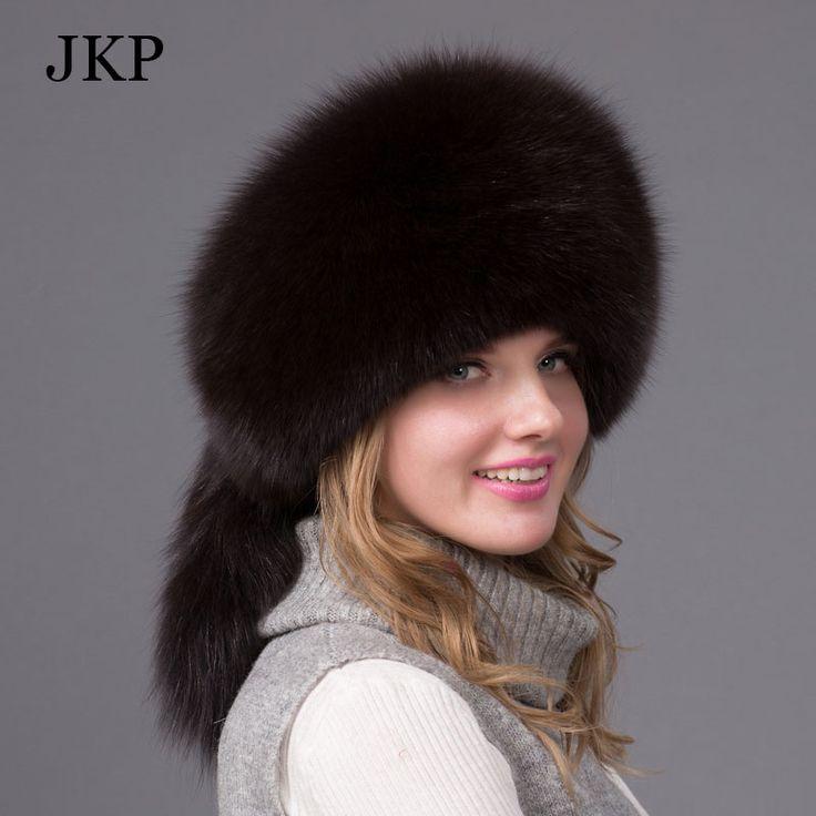 Cheap JKP Moda invierno ruso sombrero de piel de zorro blanco real fox tail fur sombreros para las mujeres proteger gorro bomer invierno, Compro Calidad Skullies y Gorritas Tejidas directamente de los surtidores de China: