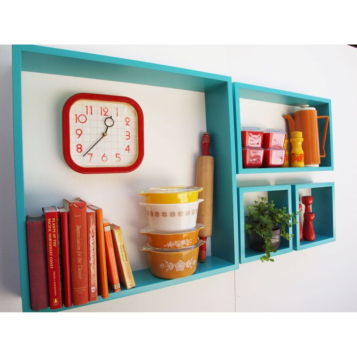 (Pretty! Could possibly DIY this.) 4-Pc. Handmade Rectangle Wall Shelves | dotandbo.com http://www.dotandbo.com/collections/sweet-soda-shop/4-pc-handmade-rectangle-wall-shelves