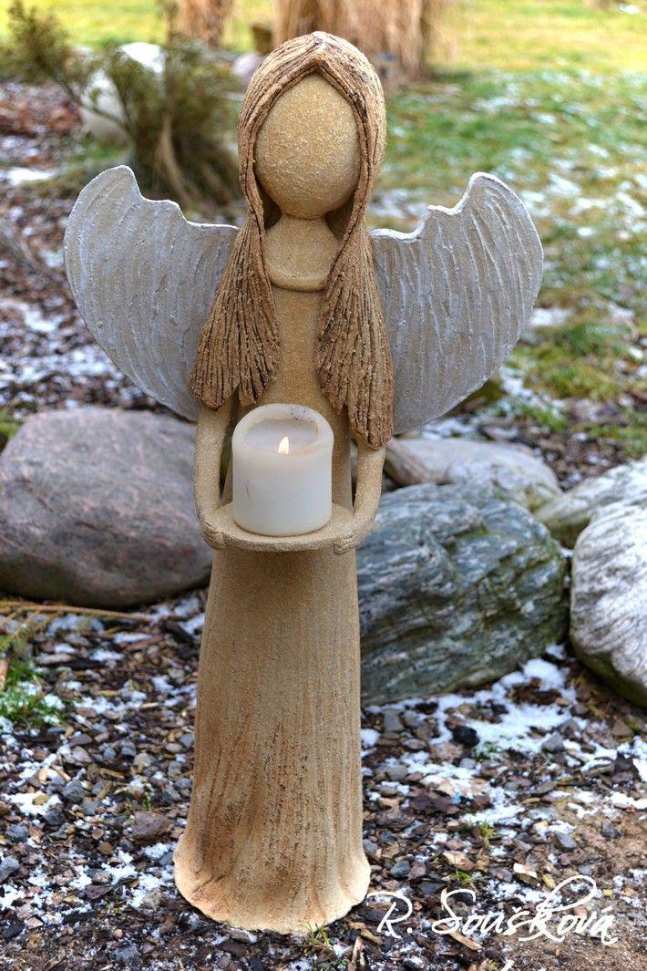 Strážce domova a pohody II Anděl ze šamotové hlíny, vhodný do interiéru i na…