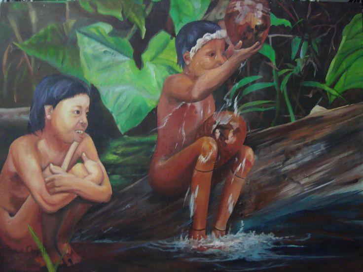 Índios banhando no rio..... série: POVOS DO MUNDO