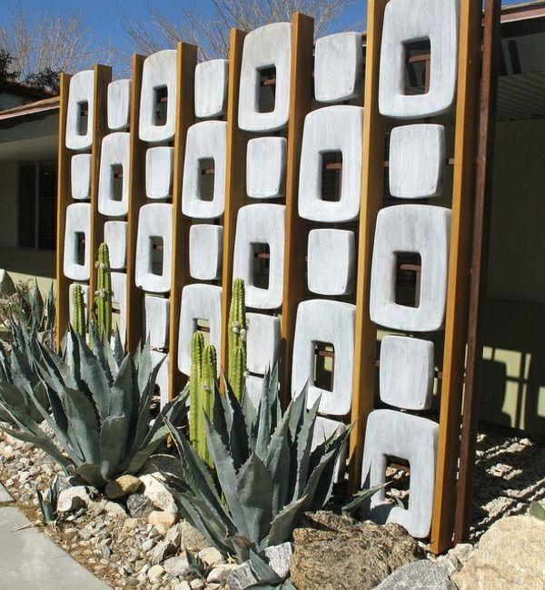 Panneau de jardin super moderne en béton et bois