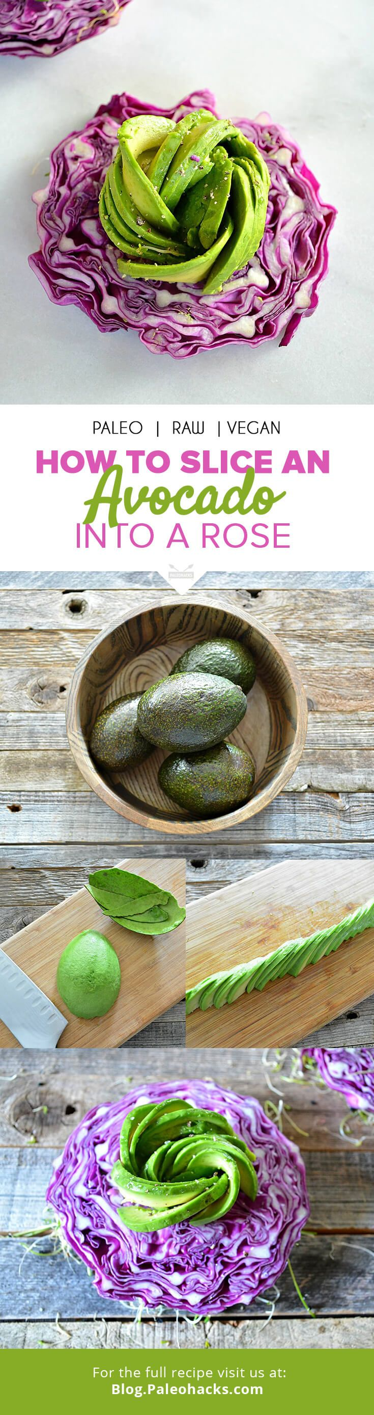 Social media is rampant right now with glorious pictures of rose-shaped avocado slices. Luckily, it's easy to transform your next avocado into a work of art! Here's how to do it. For the full how-to guide, visit us here: http://paleo.co/howtoavocadorose