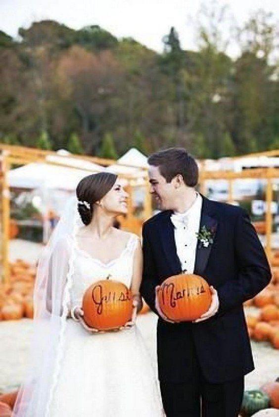 Pumpkin Patch Portraits adorable for a fall wedding / http://www.himisspuff.com/fall-pumpkins-wedding-decor-ideas/5/