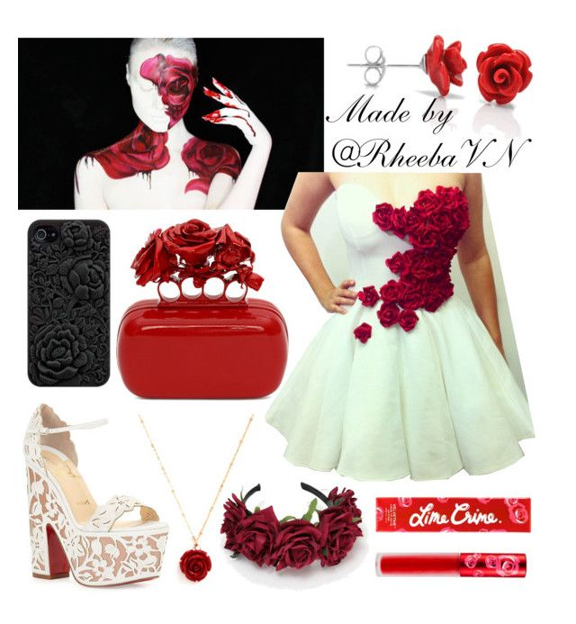 """""""Inspired by """"Dark Rose Valentine's Day"""" by MadeYewLook (Alexis Flemming)"""" by rheebavn ❤ liked on Polyvore featuring NOVICA, Christian Louboutin, Alexander McQueen, Retrò and Lime Crime"""