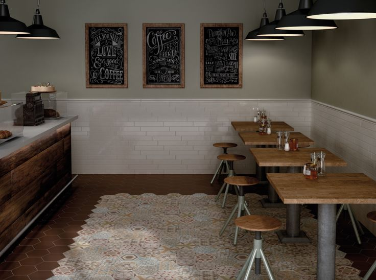 Patchwork Hexagon Floor Tiles make a statement in this cafe/bistro design. Part of the new Hexagon Harmony Range at www.tonsoftiles.co.uk