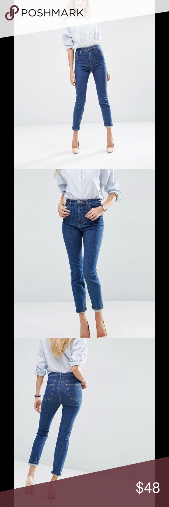 """ASOS  FARLEIGH High Waist Slim Mom Jeans NOT FOR SALE!! Do not buy this listing.  Download the Dote Shopping app and get these jeans for $48 plus free shipping using the promo code """"PDIN."""" ASOS Jeans"""