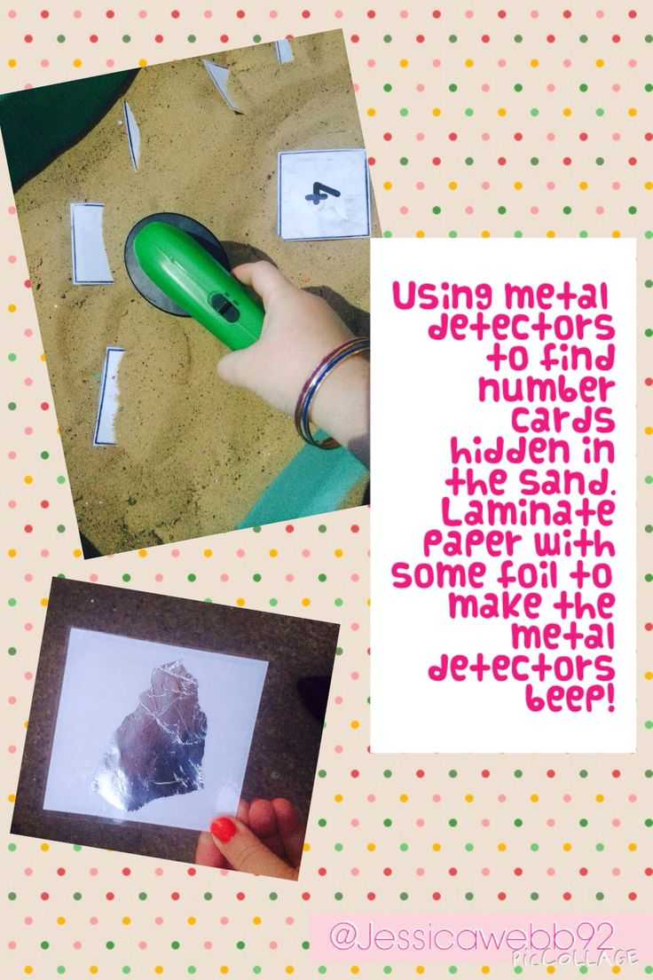 Using metal detectors to find numbers in the sand and peg them in order on the washing line. (Laminate the numbers with tin foil on the back to make the metal detector beep!) EYFS