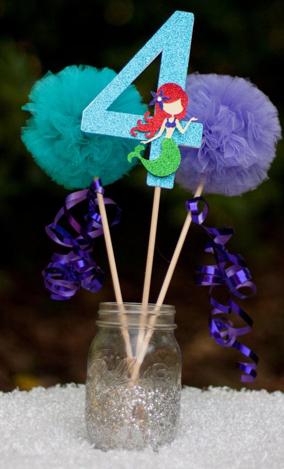 1000 ideas about little mermaid centerpieces on pinterest for Ariel birthday decoration ideas