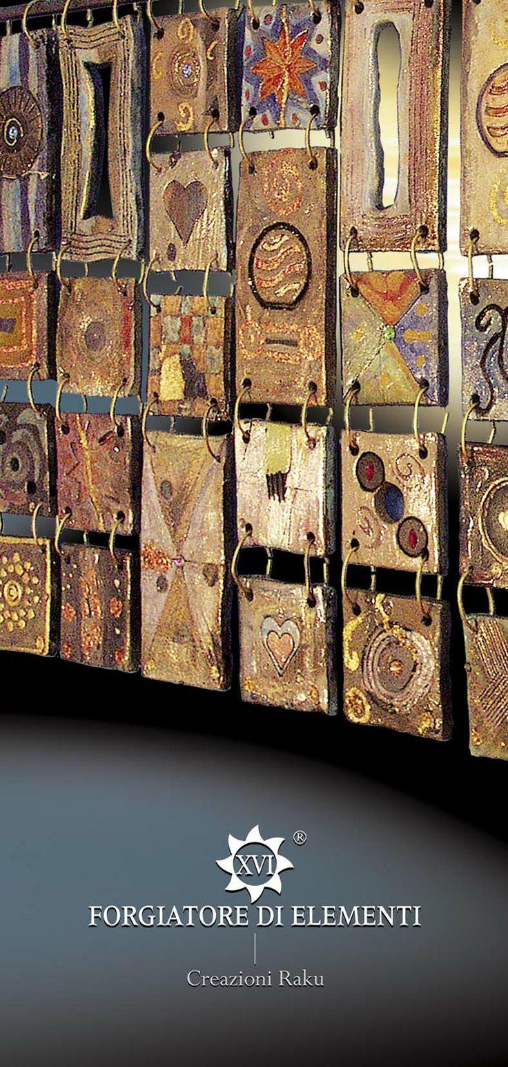 Tiles Intriguing and unique artifacts, forged one by one, made in limitless shapes and colours. They may be used to decorate edges, terminals, niches, decors, depending on the client's desire. www.forgiatoredie... ... Incantevoli formelle, pezzi unici, forgiati a mano uno ad uno, di misure, colori e forme illimitate, da inserire come bordi, terminali, nicchie, isolate, decorazioni, a fantasia del cliente…#ceramica#raku: