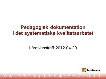 Pedagogisk dokumentation i det systematiska kvalitetsarbetet>