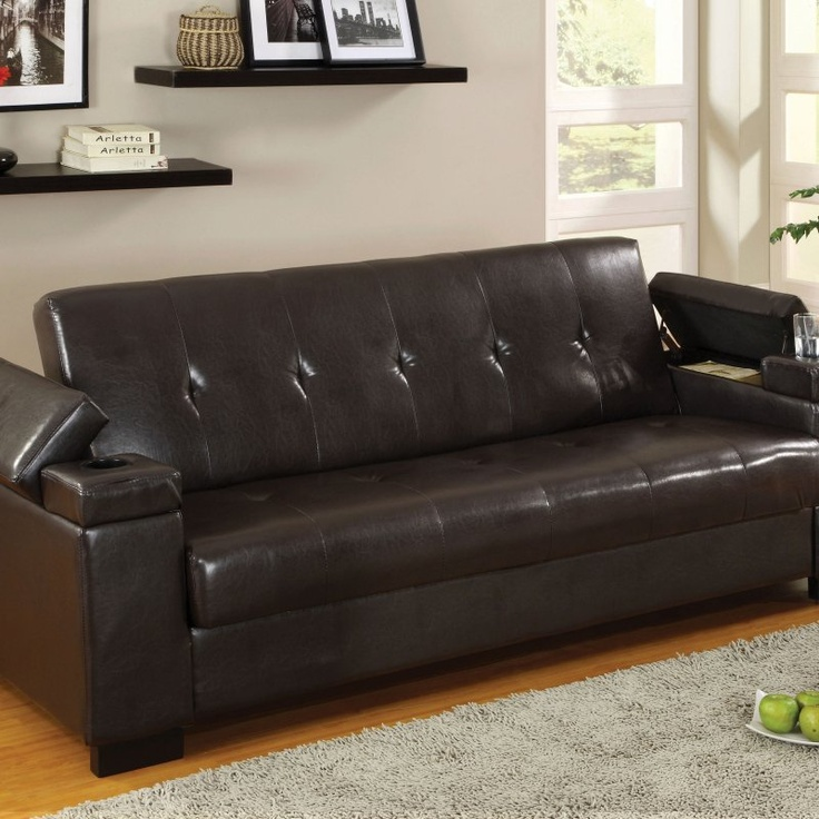 Morgan Espresso Bicast Leather Futon With Storage Find It At The Foundary