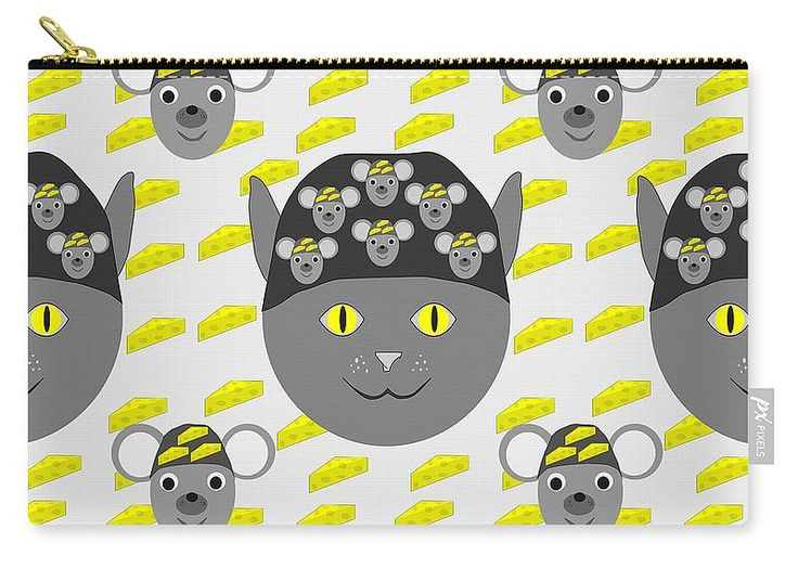 Continuous Pattern Carry-all Pouch featuring the digital art Cat, Mouse And…