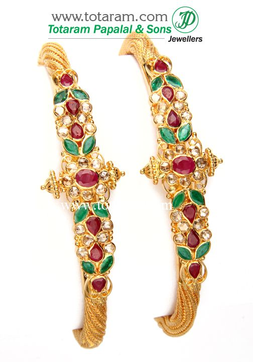 22K Fine Gold Uncut Diamond Kada with Real Genuine Rubies & Emeralds